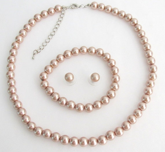 Bridesmaid Necklace Earrings Bracelet Set In Champagne Pearl Wedding Jewelry Flower Girl Bridal Party Gift Bridesmaid gift Free Shipping USA