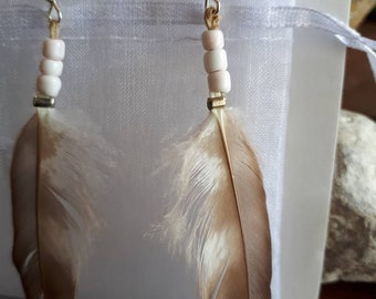 Feather Earrings, Pink Beads and Feather Earrings, Boho Earrings, Pink and Grey Earrings, Boho Jewelry, Bohemian Jewelry.