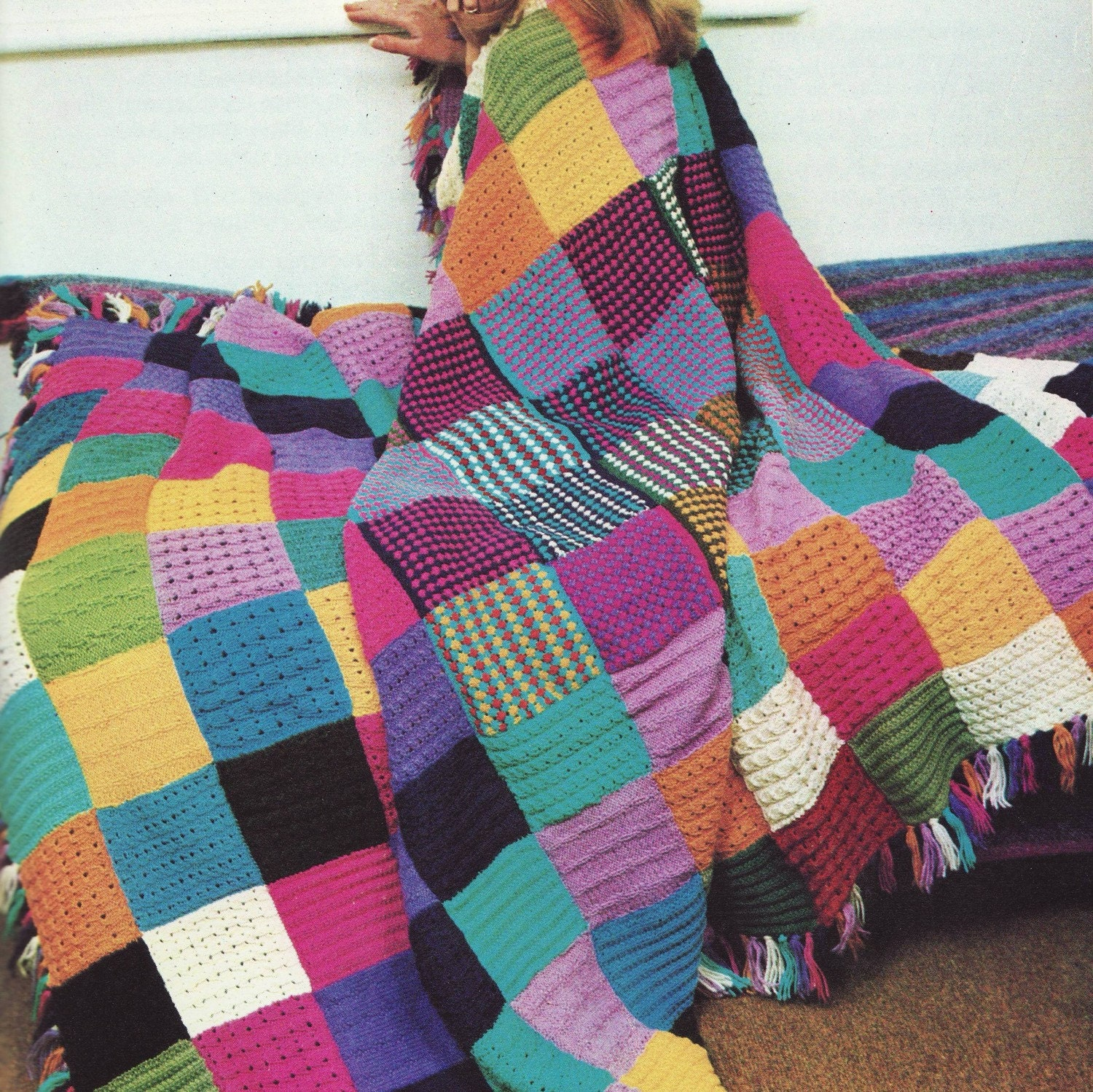 INSTANT DOWNLOAD PDF Knitting Pattern for Squares Patchwork Throw ...