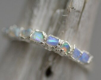 Natural Raw Rough Australian Opal Band Ring. Opal Ring. Australian Opal Ring. Raw Opal Ring. Rough Opal Ring. Opal Wedding Band Ring.