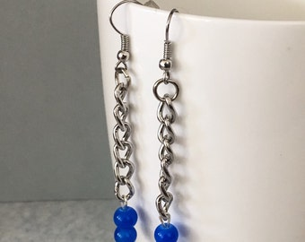 Blue earrings, blue dangle earrings, blue drop earrings, blue beaded earrings