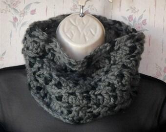 Gray Chunky Wool-blend crochet Neckwarmer by Peace Stitch Studio