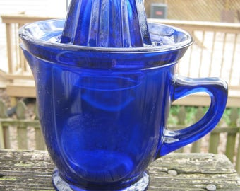 Cobalt Blue Citrus Reamer And Pitcher Set, 2 Piece Set, Westmoreland Reproduction, 7 1/4 Inches High, 5 Inch Diameter, Vintage Kitchenware,