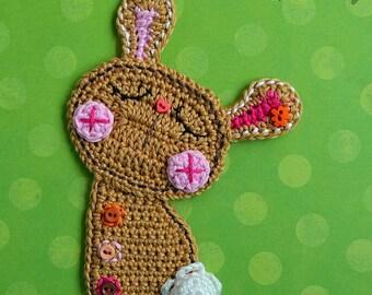 Crochet Bunny applique - crochet pattern, DIY