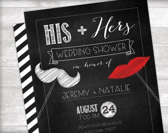 His + Hers Wedding Shower Invitation + Thank you card Printable