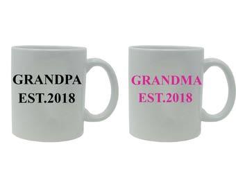Grandpa + Grandma Established EST. 2018 White Ceramic Coffee Mug Set - Great Gift for Expecting Parents