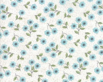 Nest Fabric by Lella Boutiquee for Moda, #5062-21, Eggshell Robins Egg, Classic Blossom Blue on White - IN STOCK