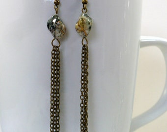 Long Boho Dangle Earrings with Antique Brass Chains, Fringe Earrings, Nickle-Free Earrings, Ready to Ship, Gift for Her, Handmade in the USA