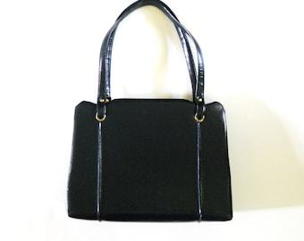 Vintage Vinyl Navy Blue Frame Purse Handbag