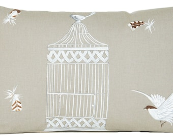 Bird Cage Cushion Cover Toffee Pillow Case Decorative Printed Cotton Fabric