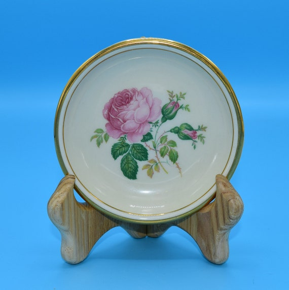 Hyalyn Pink Rose Coaster Vintage American Pottery Small Plate Pink Cabbage Rose Gift for Her Mothers Day Wedding Decor Gift USA Pottery