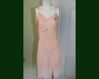 Vintage 1940's John Wanamaker Woman's Slip with Embroidered Applique Roses