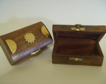 """Carved Wooden Box with real  Brass Inlaid 2"""" x 3.5"""""""