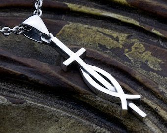 Sterling Silver Christian Cross and Ichthus Fish Necklace Pendant