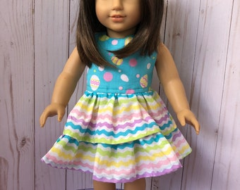 American Girl Doll Dress: Colourful Zig Zags, 18 inch Doll Clothes