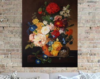 To order Dutch Still life oil original painting Summer garden flowers Fine art painting Floral picture Original oil painting Dark brown back