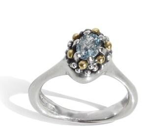 Unique Aquamarine, Silver+Gold modern ring. Precious fine jewelry. Studio designer-made.Contemporary Alternative Engagement Pamela Dickinson