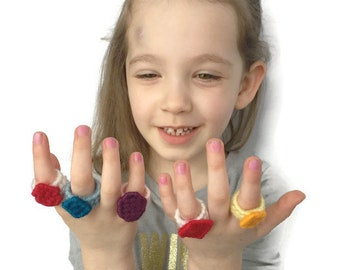 Dress up Rings for kids -  Plastic Canvas Pattern Book in PDF Christmas or Birthday Gift Creative Play