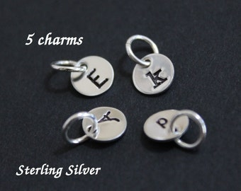 """Tiny sterling silver initial charms - 1/4"""" (6.4mm) - personalized charms - 5 charms"""