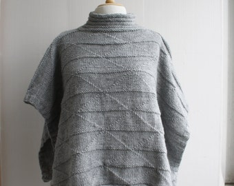 Hand Knitted Turtleneck Gray Melange Poncho with Triangle Pattern
