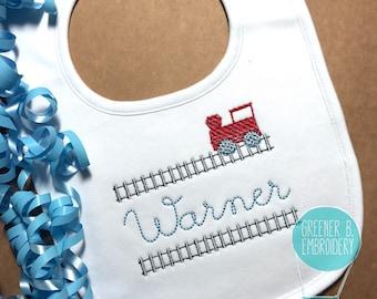 Personalized Baby Boy Bib / Personalized Train Bib / Train Track Bib / Boy Baby Shower Gift / Train Bib Embroidery / Boy Personalized Bib