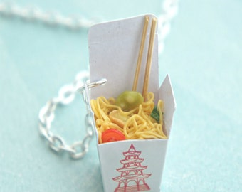 chow mein noodles necklace- miniature food jewelry, food necklace, chinese food
