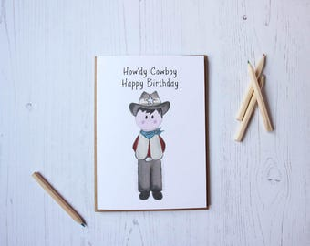 Little Paperie How'dy Cowboy Birthday card - Children's birthday - Cowboy