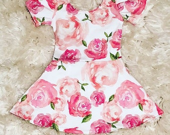 Baby Girl Dress - Toddler Dress - Little Girl Dress - Baby Dress - Dylyn Dress - Pink Floral Dress