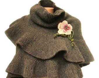 Grey Scarf, Shawl, Gray Knit Wool Ruffle Shawl, Woman Scarf, Hand Knit, Warm Winter Accessory, For Her,Crochet Flower, Knit Wool Ruffle