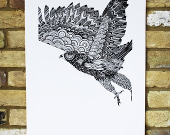 screen print poster - hand printed - limited edition - eagle print - bird of prey art - black and white - 50x70cm -