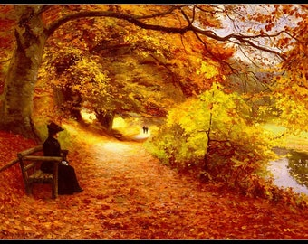 Counted Cross Stitch Patterns Needlework for embroidery - A Wooded Path in autumn