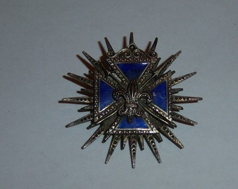 Fleur De Lis Brooch. Crusader Cross Shield Pin. Blue Enamel Cross. French Jewelry.