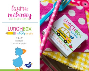 Tear Off Lunchbox Notes for Girls  70 pages - Premium Paper