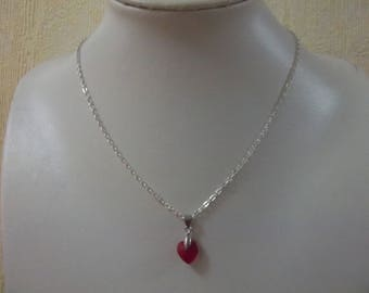 Red heart chain necklace