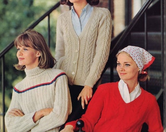 Cozy Town • 1960s Cardigan Pullover Sweater Patterns • 60s Vintage Cabled Ribbed Knitting Pattern • Retro Knit PDF