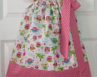 Ready to Ship!  Hawaiian Owls Pillowcase Dress Size 2