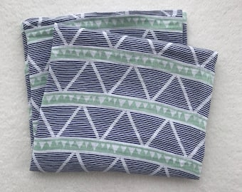 navy/green swaddle blanket