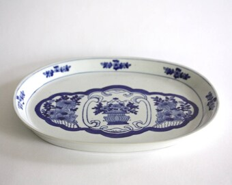 Vintage Blue and White Ceramic Tray