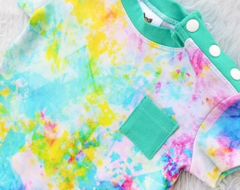 Shoulder Snap Romper Bright Abstract Color Toddler Outfit Kids Romper Unisex Boy Clothes Girl Clothes Back to School Pockets Green Blue Pink