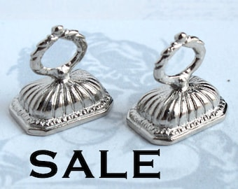 LOW Stock - Vintage Rhodium Plated Stone Finding Pendants (4X) (F528) SALE - 50% off