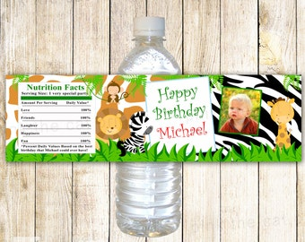 Jungle Bottle Label - Photo Wrapper Animals Baby Boy Birthday Printable Personalized