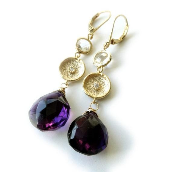 Gold Amethyst Dangle Earrings
