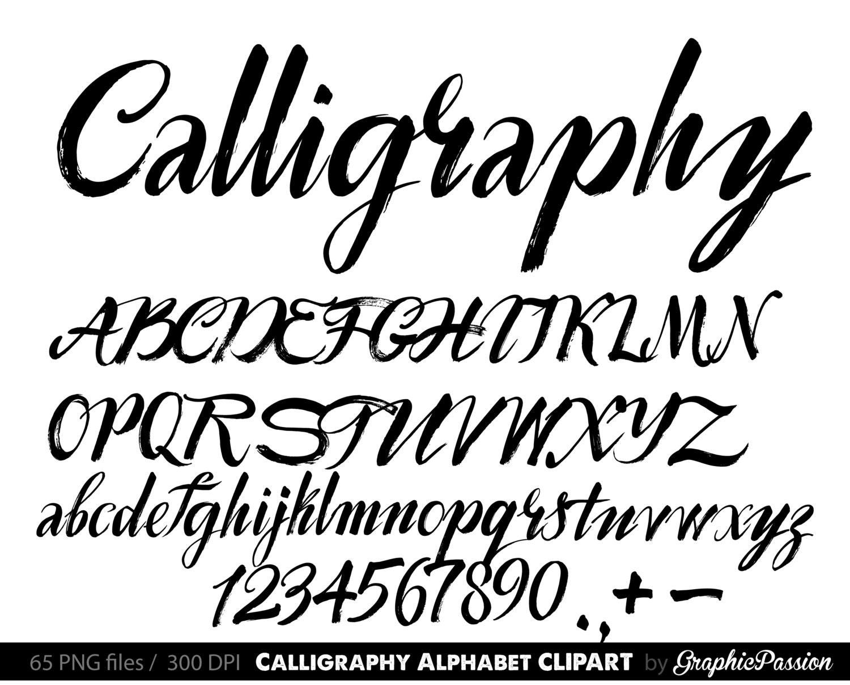 Calligraphy alphabet clip art
