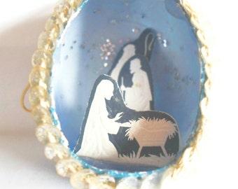 Vintage Christmas Ornament Blue Egg Shaped Nativity Diorama