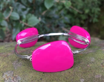 wire wrapped Fushia pink bracelet