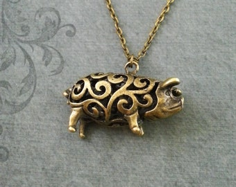 Pig necklace small bronze pig jewelry brass pig pendant pig necklace ornamental pig jewelry bronze pig pendant necklace sow necklace farm animal necklace bacon necklace mozeypictures Gallery