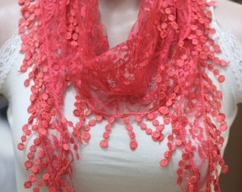 salmon lace scarf pomegranate flower lace scarf - woman accessories - hair accessories - lace headband - woman accessories - accessories