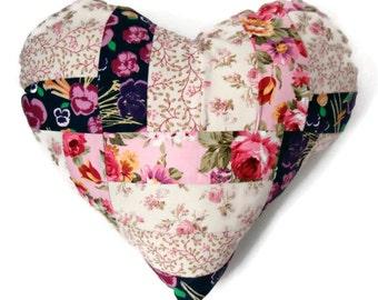 "Shabby Chic 14"" Handmade Stuffed Heart Cushion / For the home / Home Decor / Throw Pillow / Modern Pillow"