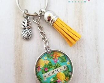 Summer Pineapple Keychain-Tropical Keychain-Aloha Keychain-Pineapple Lover-Tassel Keychain-Double side Keychain-Hawaiian-Tropical Collection