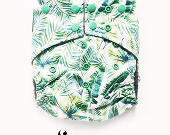 Cloth Diapers, Cloth Diaper Pattern, One Size, All in one, Modern, Bamboo, Nappies, Baby Diaper, Baby Diaper Cover, Tropical Leafs, Green